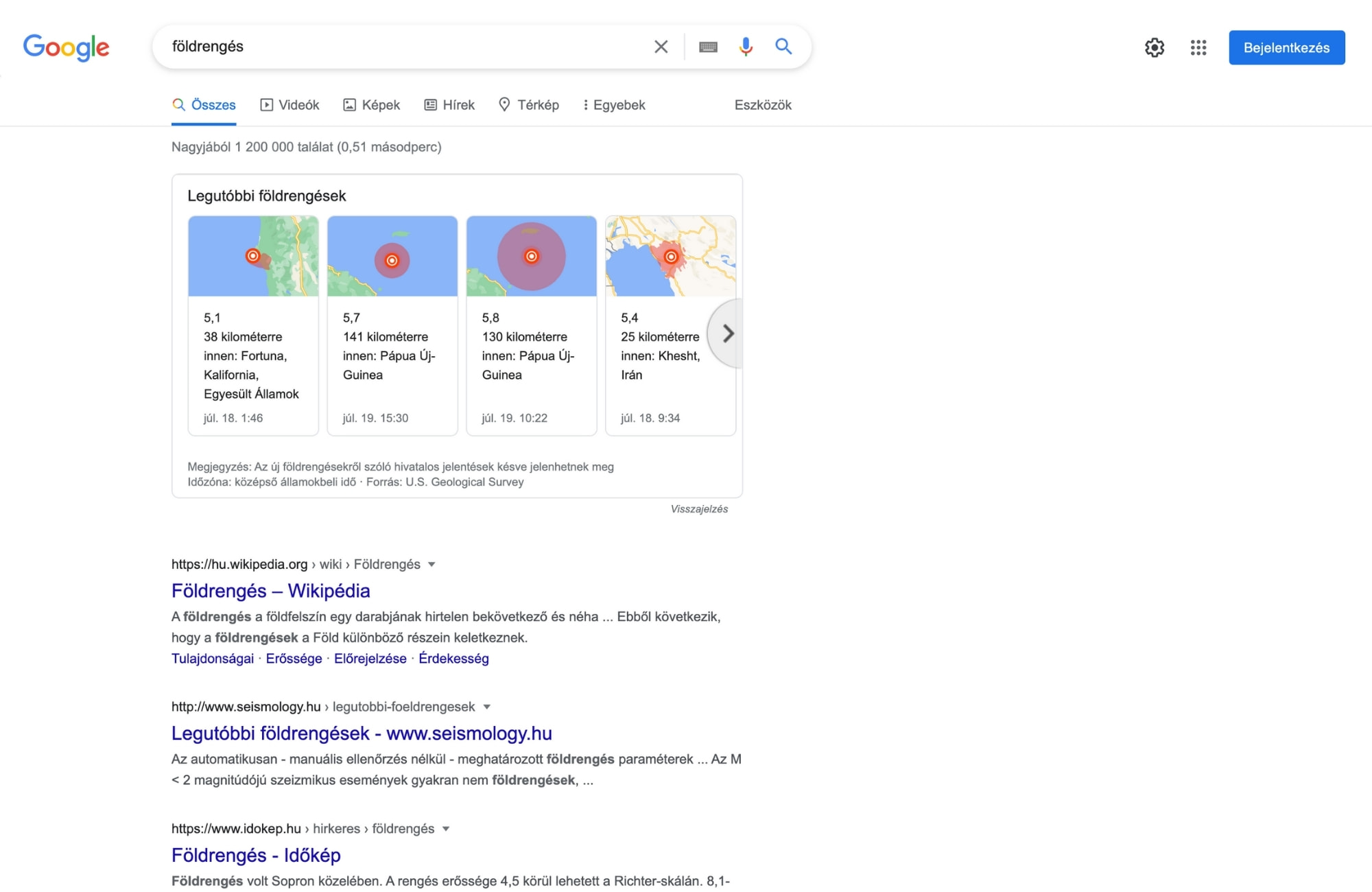 Információs célú keresési szándék, például: földrengés