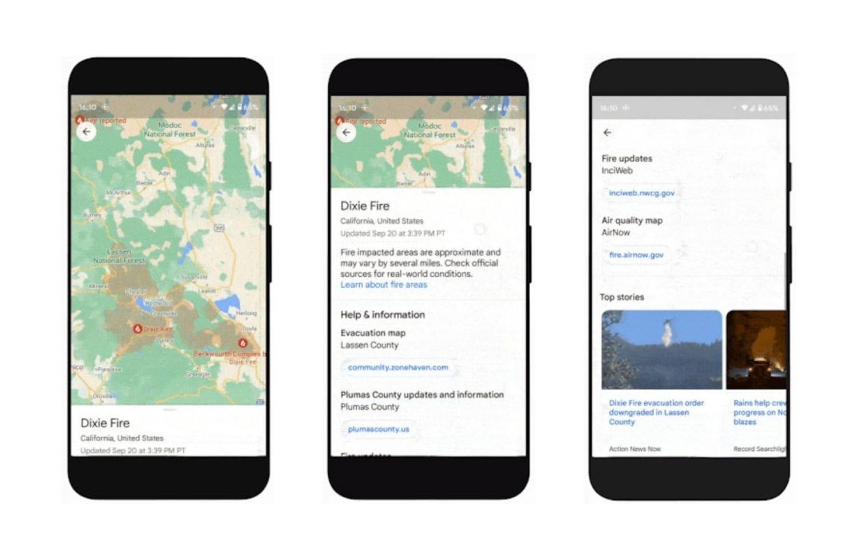 Wildfire layer, vagyis futótűz réteg a Google Térképen